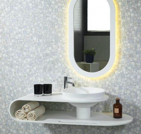 Soluzione Saturno lavabo bagno in solid surface
